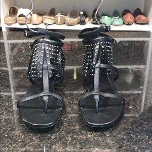 NEW Saint Laurent Women Studded Fringe Sandals